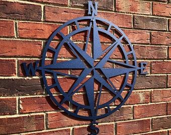 Nautical Compass Rose Metal Wall Art- Various Sizes