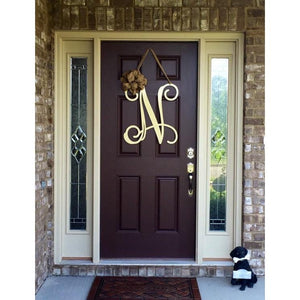 Single Letter Vine Monogram Door Hanger with Ribbon