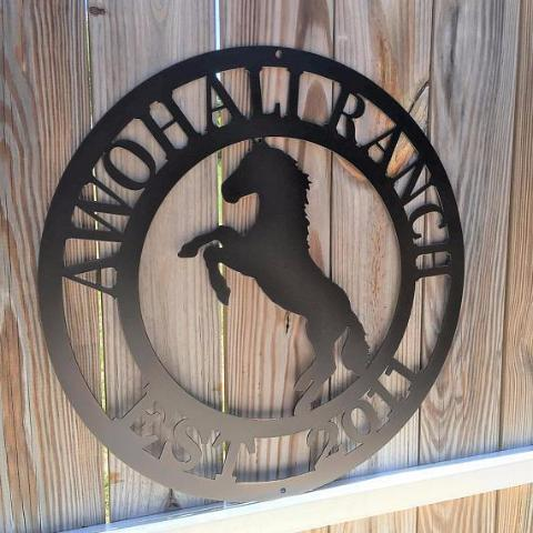 Rearing Horse Ranch Sign