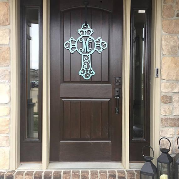 The Crucifix Cross Monogram Door Hanger Or Metal Cross