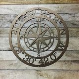 Personalized Nautical Compass GPS Coordinate Address Sign