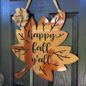 Happy Fall Y'all Metal Leaf Wreath