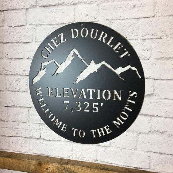 Rustic Mountain Elevation Welcome Sign