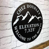 Mountain Elevation Rustic Welcome Sign