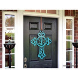 THE CRUCIFIX: Cross Monogram Door Hanger or Metal Cross Wall Decor