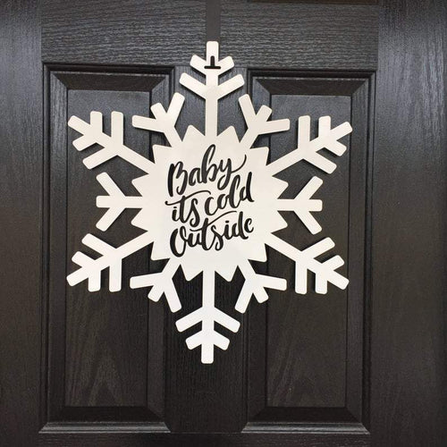 Baby its Cold Outside Snowflake Monogram Door Wreath