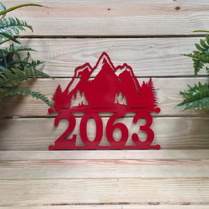 Custom Metal Mountain Address Sign