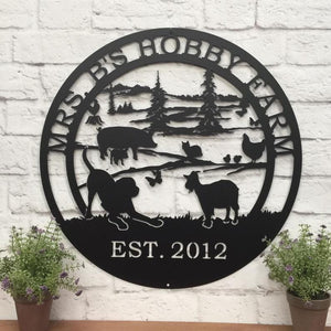 Hobby Farm Animals Metal Ranch Sign