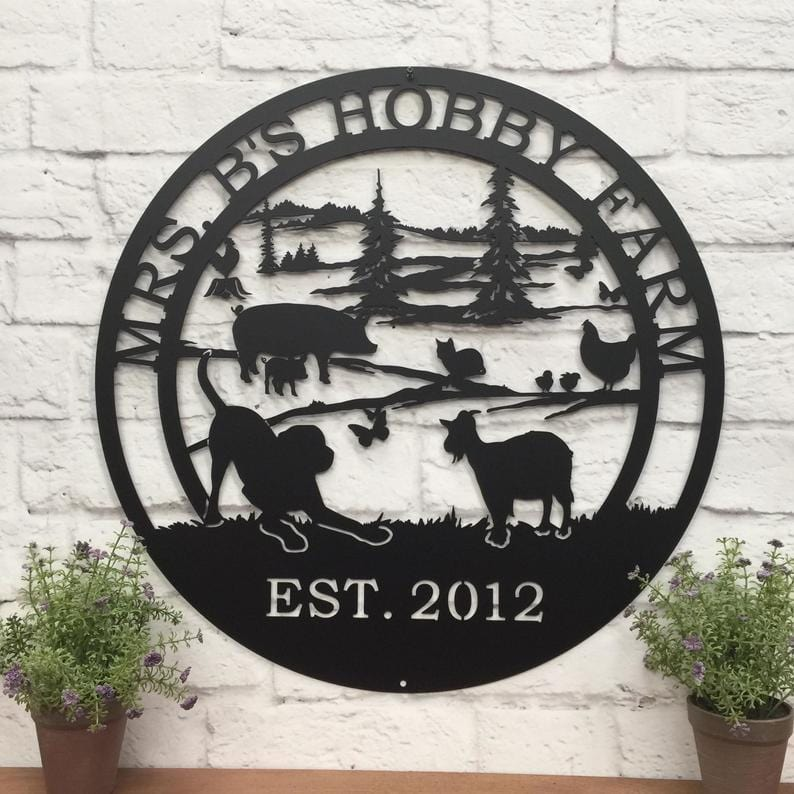 Hobby Farm Metal Ranch Sign Farm Animals Farmhouse Wall Art