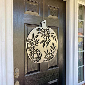 Floral Pumpkin Fall Decor Metal Sign