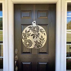 FLORAL PUMPKIN Fall Decor | Metal Pumpkin THANKSGIVING Door Wreath