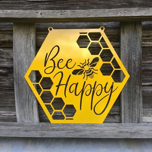 Bee Happy Outdoor Metal Honey Bee Sign