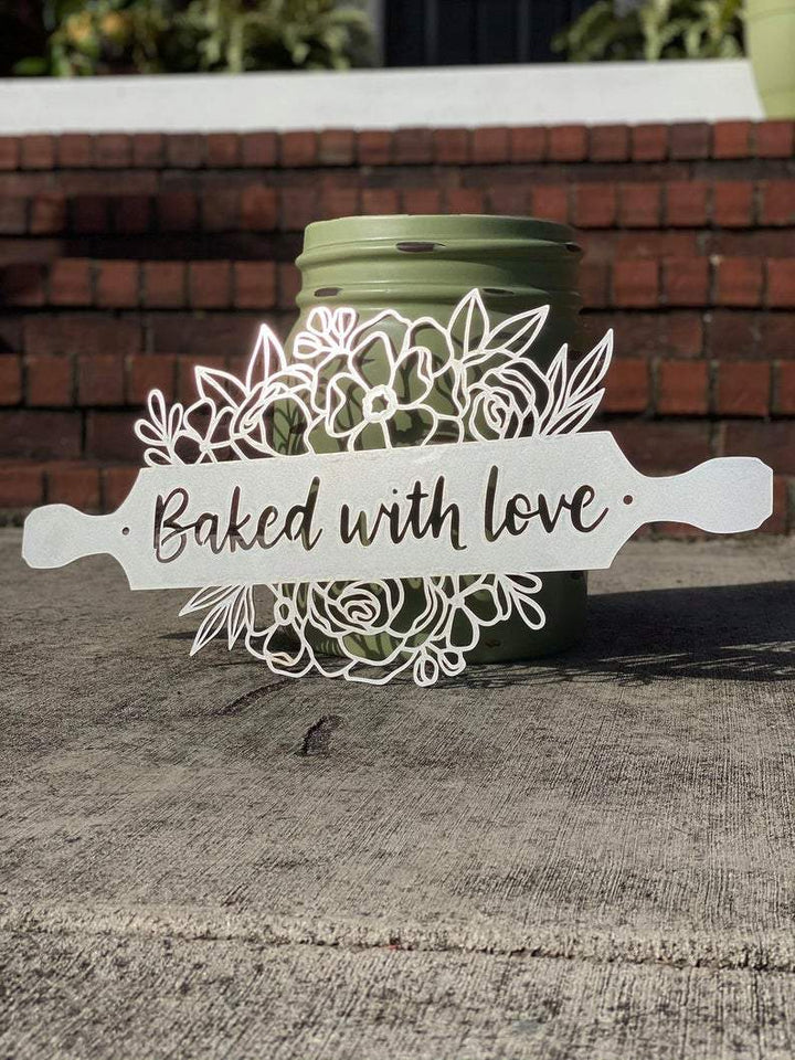 BAKED WITH LOVE Kitchen Wall Art | Personalized Metal Rolling Pin Farmhouse Kitchen Decor