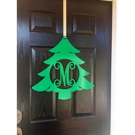 Christmas Tree Metal Monogram Door Wreath