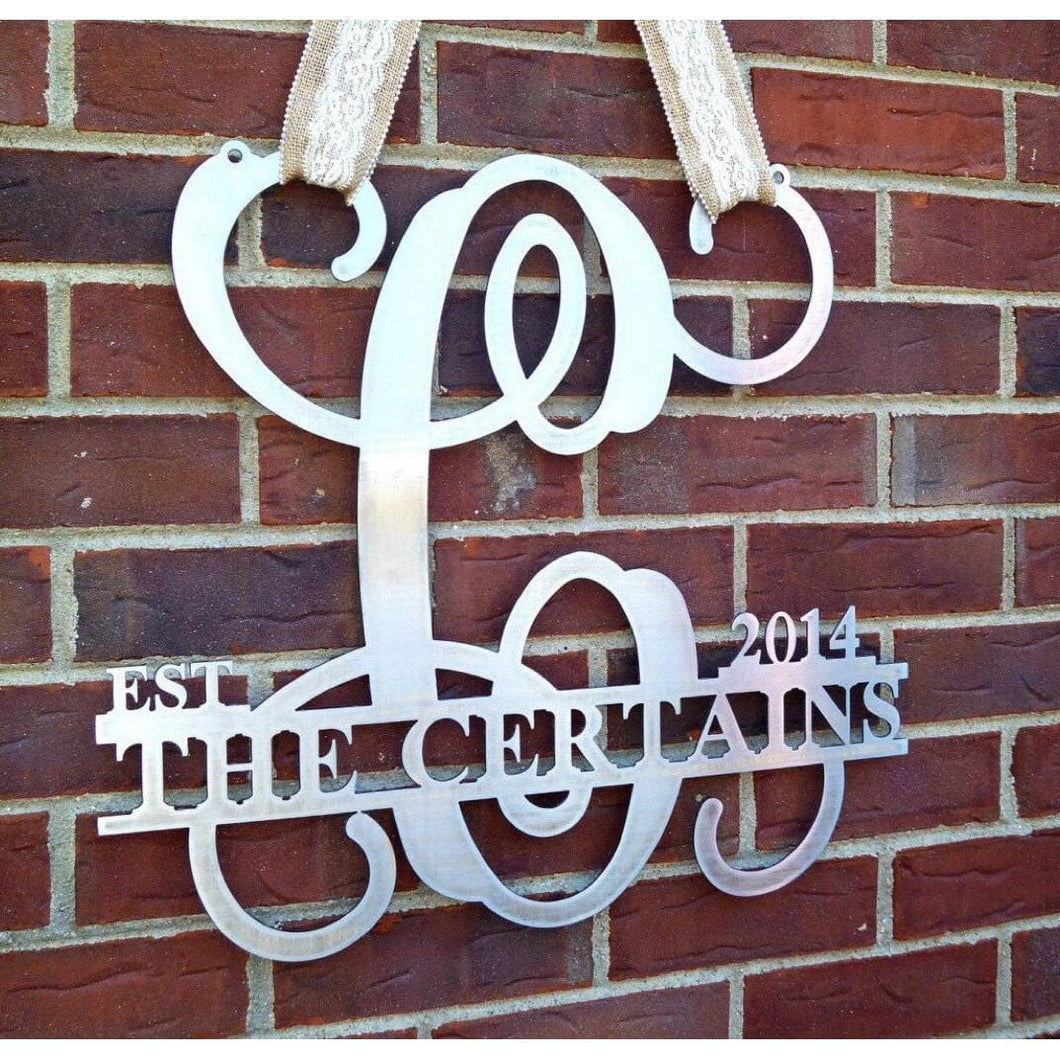 Custom Monogram Name Date Sign