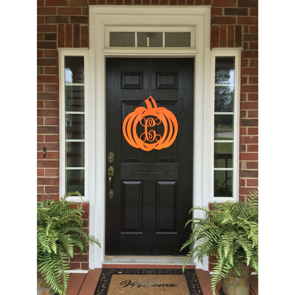 Pumpkin Monogram Door Wreath - Fall Decor