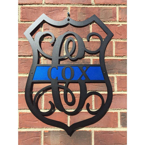 Police Officer Badge Monogrammed Sign |  Metal Wall Art | Badge , Sign , Decor, Gift, Law Enforcement, Police