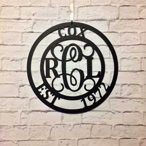 Three Letter Monogram Metal Sign
