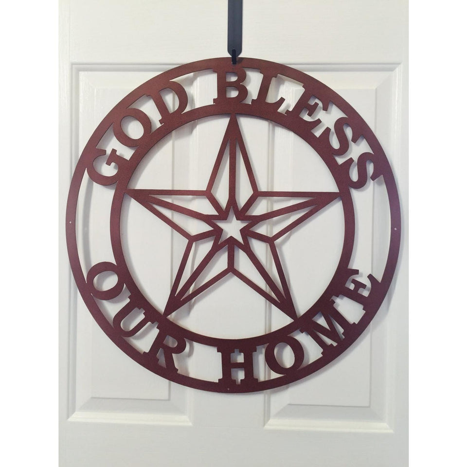 God Bless Our Home Sign with Texas Star