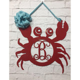 Crab Monogram Front Door Hanger/ Wall Decor