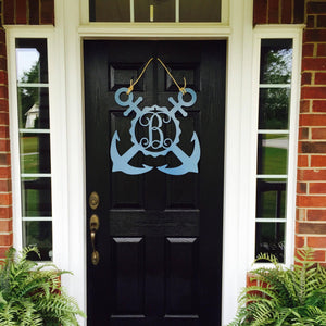 THE MATTHEW: Metal Nautical Double Anchor Front Door Wreath