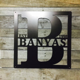 "Modern:  24"" SQUARE Last Name Sign -Metal"