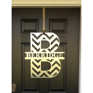 Chevron Monogram Front Door Wreath