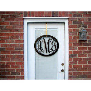 Oval Three Letter Monogram Wreath