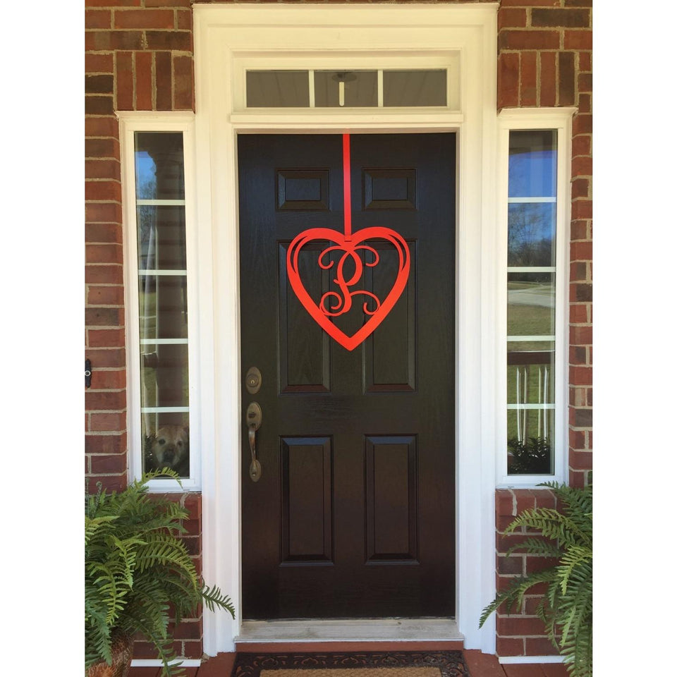Valentines Heart Monogram Door Wreath