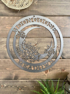 Garden Moon Family Established Custom Metal Sign