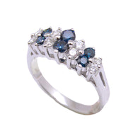 2 Row Blue Diamond Tiara Ring