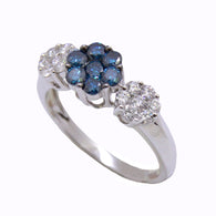 3 Tier Flower Blue Diamond Ring