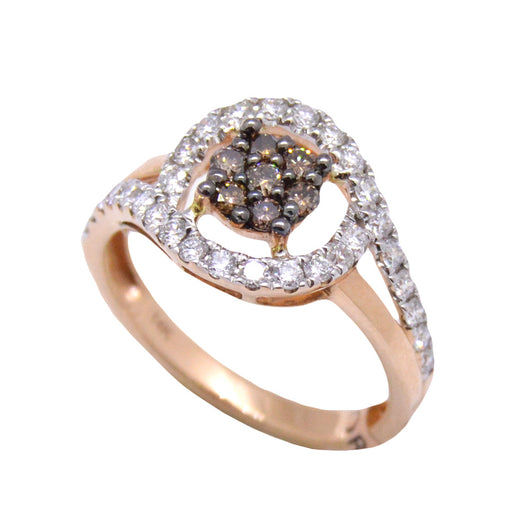 gold rose morganite diamond peach brown champagne ring rings pink halo rng cushion