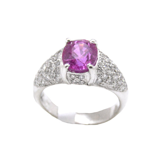 Pink Sapphire and Pave Diamonds