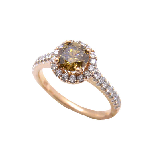 Classic Solitaire Brown Diamond Halo Ring