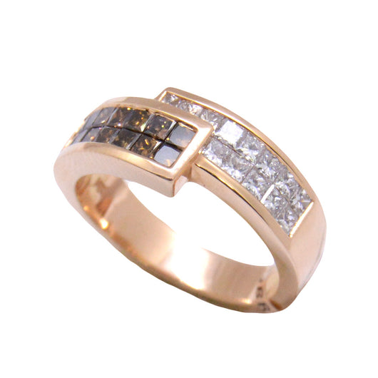 Princess Cut Halfway Brown Diamond Band