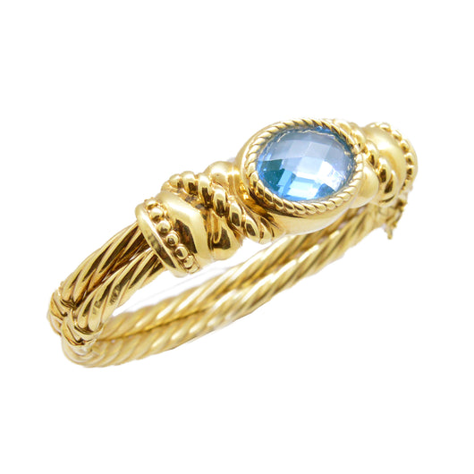 Gold Blue Topaz Bangle