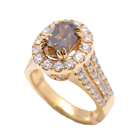 diamond halo brown exquisite ring radiant but a yet color bride pink events rings put knot on it gia