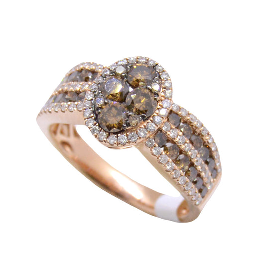 rose wedding rings white champagne band micro handmade sets ring brown set gold carat pave diamond bridal fancy anniversary engagement natural