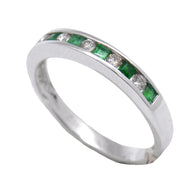 Alternating Emerald & Diamond Band