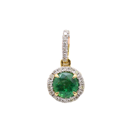 Round Emerald Diamond Pendant
