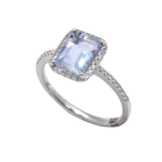 Halo Aquamarine Ring