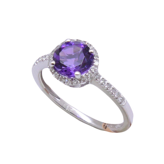 Round Cut Amethyst Ring
