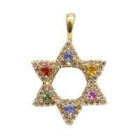 Multi Colored Stone Star of David Pendant