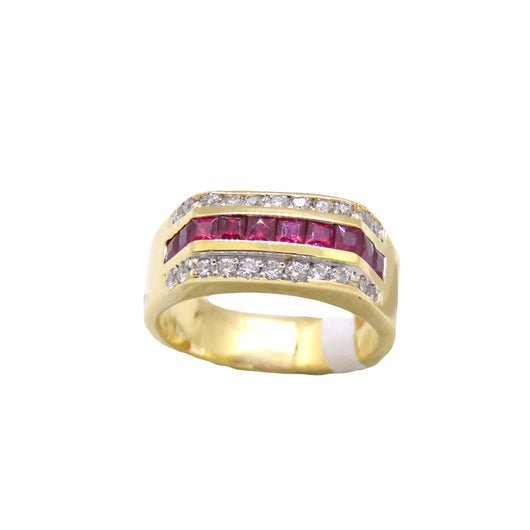 Rectangle Ruby Diamond Ring