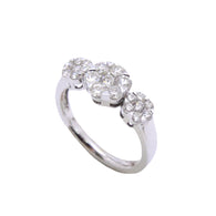 3 Stone Flower Diamond Ring