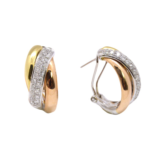 Tri-Tone Diamond Earrings