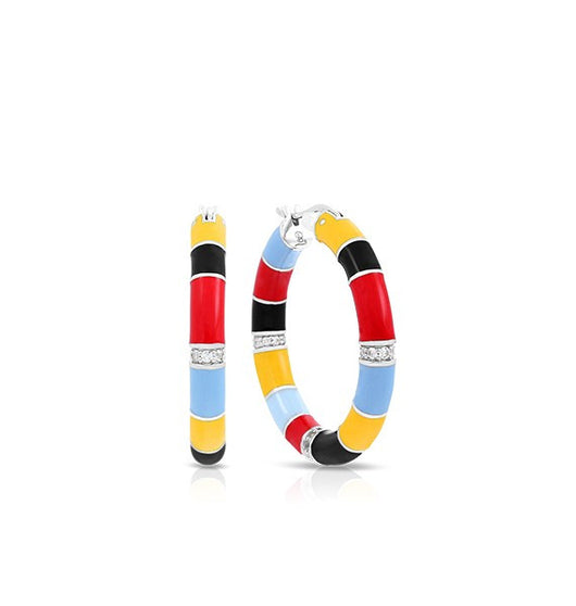 Cirque Red, Yellow, & Black Hoop Earrings