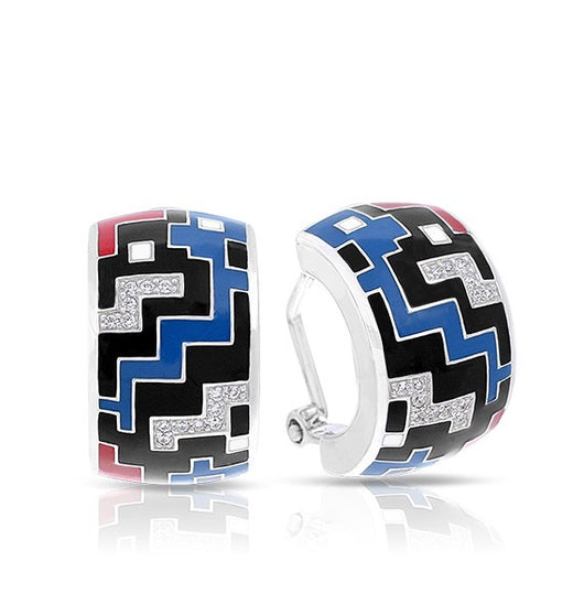 PIXEL BLACK, RED & BLUE EARRINGS