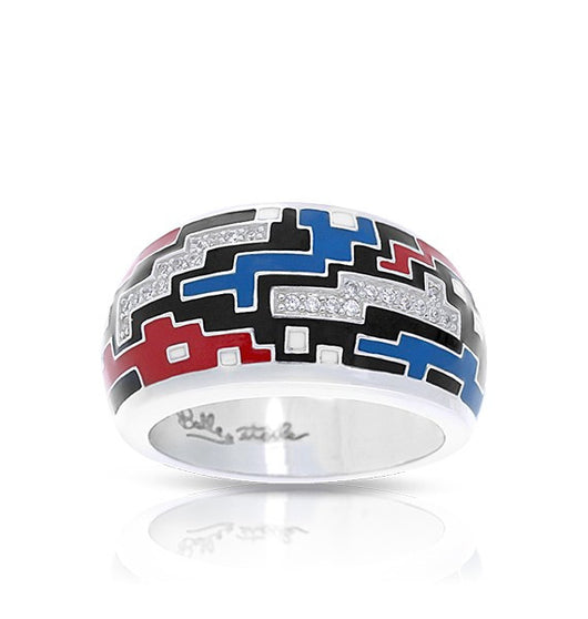 PIXEL BLACK, RED & BLUE RING